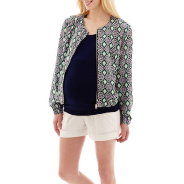 jcpenney.com | Maternity Print Bomber Jacket, Tank Top or Cuffed Utility Shorts