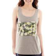 Sleeveless Crochet-Hem T-Shirt
