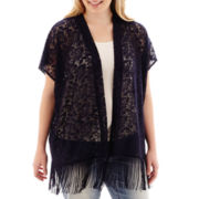 Arizona Sleeveless Lace Fringe-Trimmed Kimono - Plus