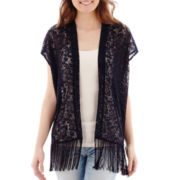 Arizona Short-Sleeve Lace Fringe-Trimmed Kimono