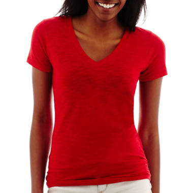 jcpenney.com | Arizona Short-Sleeve Solid V-Neck T-Shirt