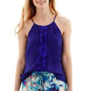 Worthington® Lace-Trim Halter-Neck Blouse - Petite