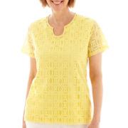 Alfred Dunner® Sunrise Point Short-Sleeve Lace-Trim Knit Top