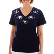 Alfred Dunner® American Dream Short-Sleeve Beaded Floral Top
