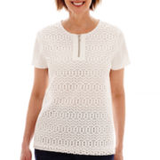 Alfred Dunner® American Dream Short-Sleeve Zip-Front Lace Top