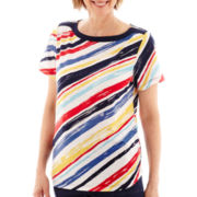 Alfred Dunner® American Dream Short-Sleeve Diagonal-Striped Knit Top