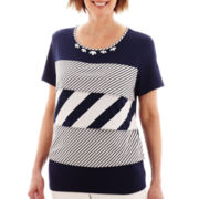 Alfred Dunner® American Dream Short-Sleeve Tiered Ruffle-Striped Top