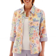 Alfred Dunner® Sunrise Point 3/4-Sleeve Floral Print Layered Top