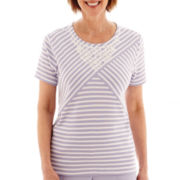 Alfred Dunner® Sunrise Point Short-Sleeve Geo-Striped Knit Top