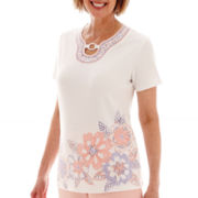 Alfred Dunner® Sunrise Point Short-Sleeve Floral Appliqué Top