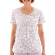 Alfred Dunner® Sunrise Point Short-Sleeve Monotone Floral Print Top