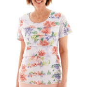 Alfred Dunner® Sunrise Point Short-Sleeve Tiered Ruffle Floral Print Top