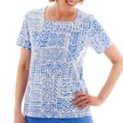 Alfred Dunner® Coastal Breeze Short-Sleeve Monotone Batik Patch Print Top