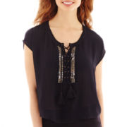 MNG by Mango® Sleeveless Lace-Up Embellished Top