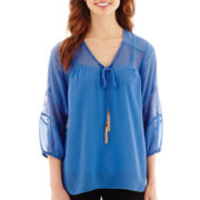 Alyx® 3/4 Crochet-Sleeve Blouse with Tassles