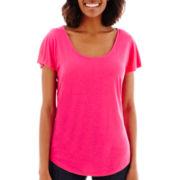 Liz Claiborne® Flutter-Sleeve Knit T-Shirt