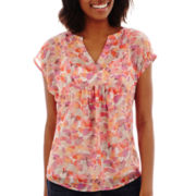 Liz Claiborne® Short-Sleeve Bib Popover Blouse with Cami