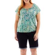 St. John's Bay® Tie-Front Top or Denim Bermuda Shorts - Plus
