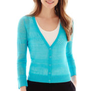 Worthington® 3/4-Sleeve Mixed-Stitch Cardigan Sweater