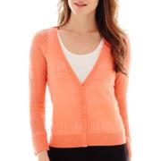 Worthington® 3/4-Sleeve Mixed-Stitch Cardigan Sweater