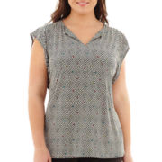 Worthington® Flutter-Sleeve Pleated Top - Plus