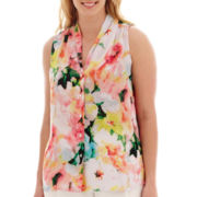 Worthington® Sleeveless Button-Front Shirt - Plus