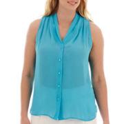 Worthington® Sleeveless Button-Front Shirt - Plus