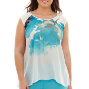 Worthington® Cap-Sleeve Flutter-Hem Blouse - Plus