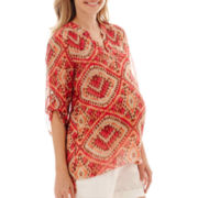 Maternity 3/4-Sleeve Roll-Tab Woven V-Neck Tunic Blouse - Plus