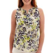Liz Claiborne® Sleeveless Henley Popover Top - Tall