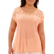 a.n.a® Short-Sleeve Lace-Yoke T-Shirt - Plus