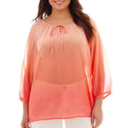 a.n.a® 3/4-Sleeve Dip-Dyed Peasant Blouse - Plus
