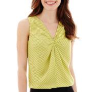 Worthington® Sleeveless Pinch-Neck Print Blouse