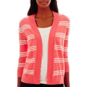 St. John's Bay® 3/4-Sleeve Striped Flyaway Cardigan Sweater