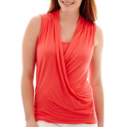 Liz Claiborne® Sleeveless Criss-Cross Tank Top
