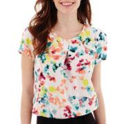 Worthington® Short-Sleeve Ruffle Shoulder Blouse - Tall