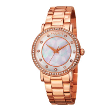 jcpenney.com | Akribos XXIV Womens White Dial Rose Gold-Tone Bracelet Watch