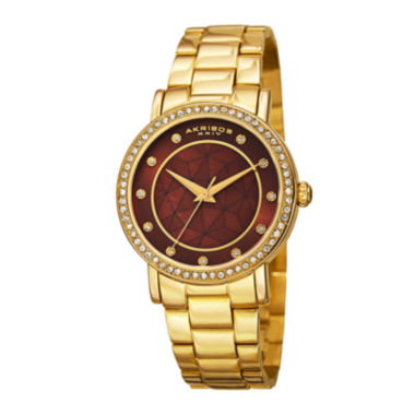 jcpenney.com | Akribos XXIV Womens Gold-Tone Crystal Accent Bracelet Watch