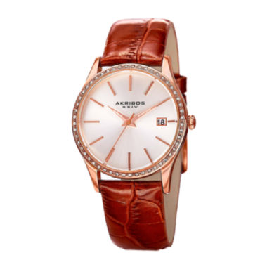 jcpenney.com | Akribos XXIV Lux Womens Rose Gold-Tone Leather Strap Watch