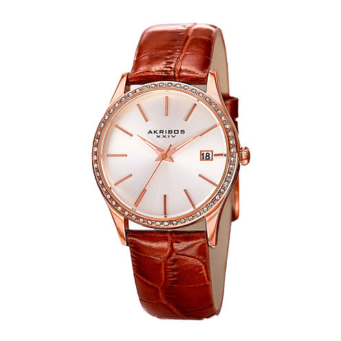 Akribos XXIV Lux Womens Rose Gold-Tone Leather Strap Watch