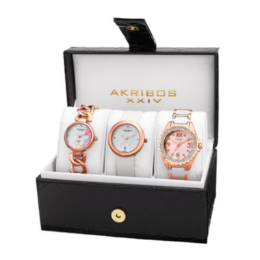 jcpenney.com | Akribos XXIV Womens 3-pc. White Diamond Accent Bracelet and Satin Strap Watch Set
