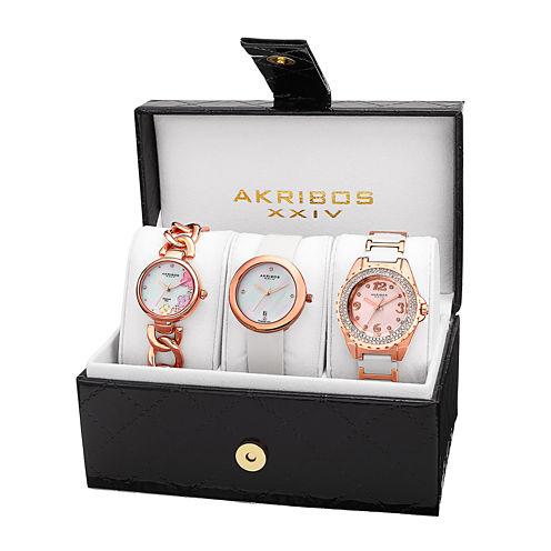 Akribos XXIV Womens 3-pc. White Diamond Accent Bracelet and Satin Strap Watch Set
