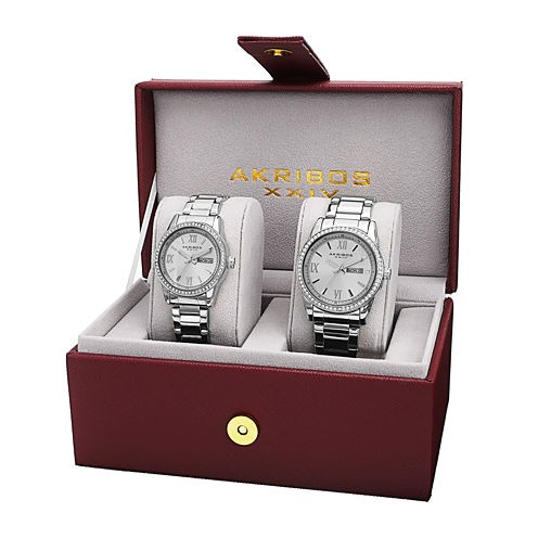 Akribos XXIV His and Hers Silver-Tone Crystal Accent Bracelet Watch Set