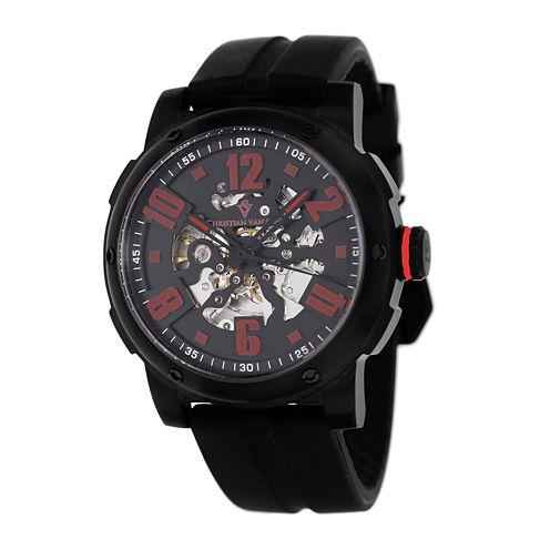 Christian Van Sant Skeleton Mens Black Rubber Strap Watch