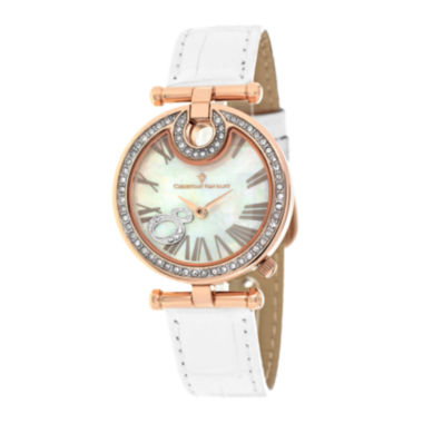 jcpenney.com | Christian Van Sant Glamour Womens White Leather Strap Watch