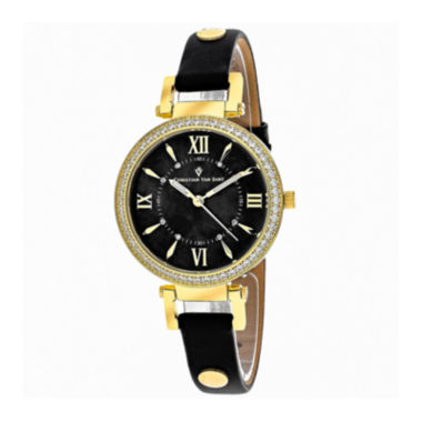 jcpenney.com | Christian Van Sant Petite Womens Black Leather Strap Watch