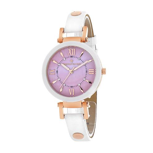 Christian Van Sant Petite Womens White Ceramic Strap Watch