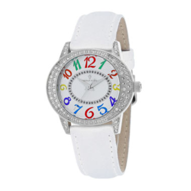 jcpenney.com | Christian Van Sant Sevilla Womens White Leather Strap Watch