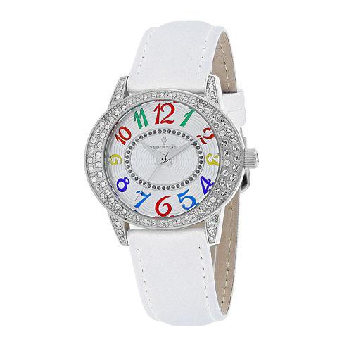 Christian Van Sant Sevilla Womens White Leather Strap Watch