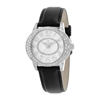 jcpenney.com | Christian Van Sant Sevilla Womens Black Leather Strap Watch